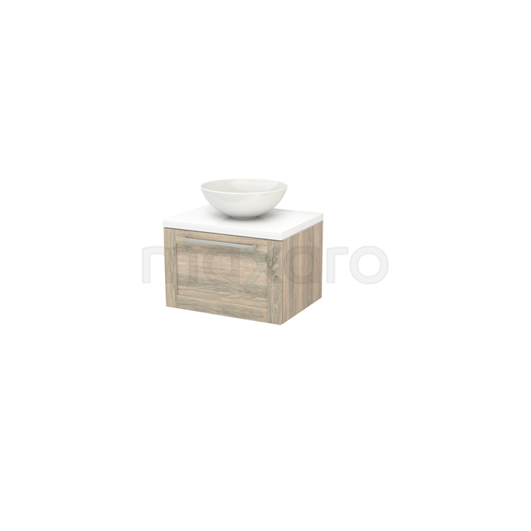 Badkamermeubel voor Waskom 60cm Eiken Kader Modulo+ Plato Hoogglans Wit Blad