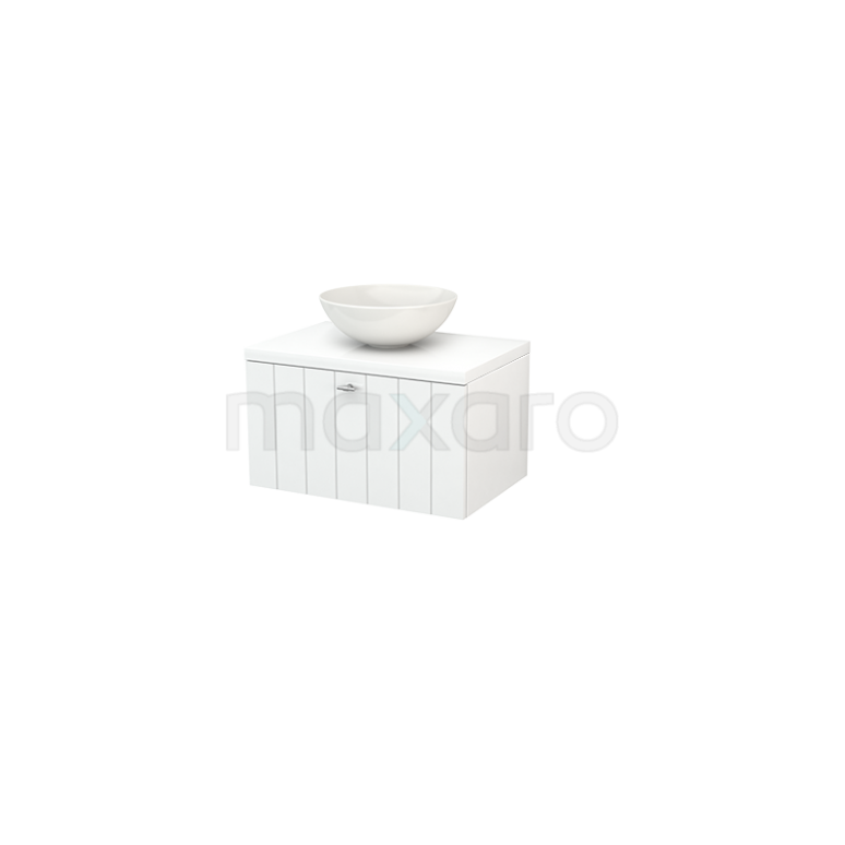 Badkamermeubel voor Waskom 70cm Modulo+ Plato Hoogglans Wit 1 Lade Lamel
