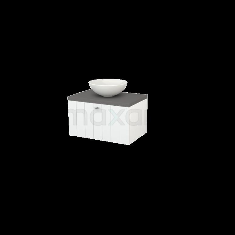 Badkamermeubel voor Waskom 70cm Hoogglans Wit Lamel Modulo+ Plato Basalt Blad