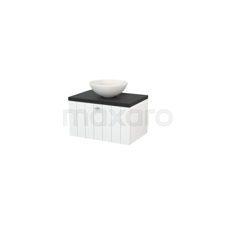 Maxaro Modulo+ Plato BMK001098 Badkamermeubel voor Waskom 70cm Hoogglans Wit Lamel Modulo+ Plato Carbon Blad