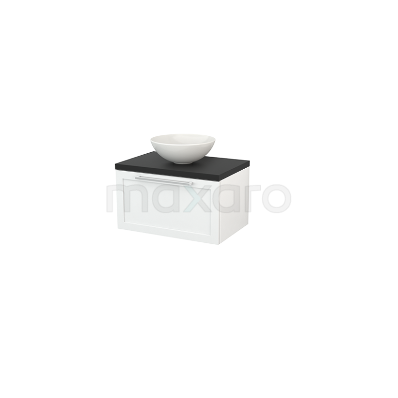 Badkamermeubel voor Waskom 70cm Hoogglans Wit Kader Modulo+ Plato Carbon Blad