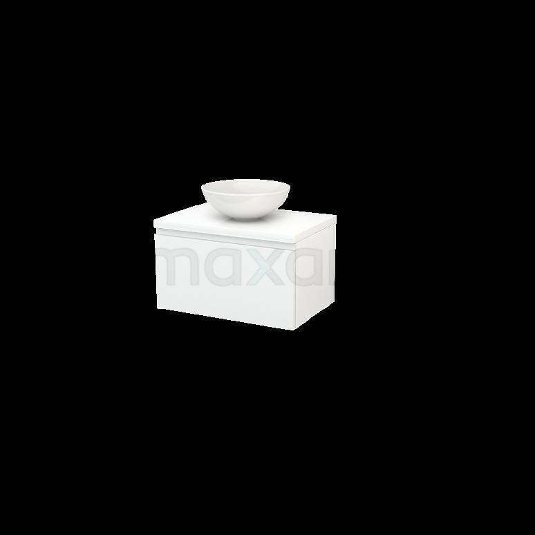 Badkamermeubel voor Waskom 70cm Modulo+ Plato Hoogglans Wit 1 Lade Greeploos