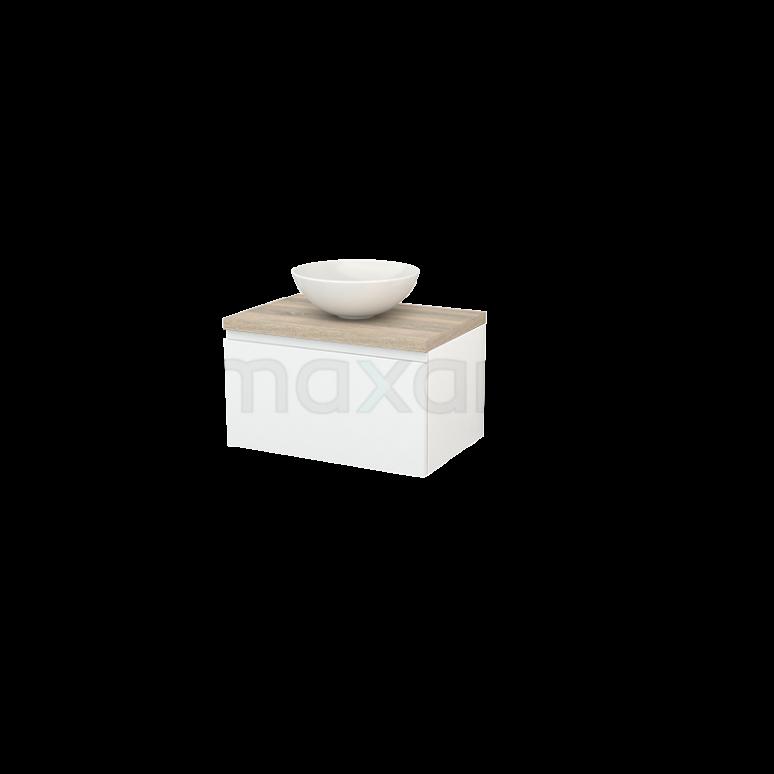 Badkamermeubel voor Waskom 70cm Hoogglans Wit Greeploos Modulo+ Plato Eiken Blad
