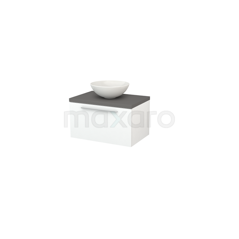 Badkamermeubel voor Waskom 70cm Mat Wit Vlak Modulo+ Plato Basalt Blad