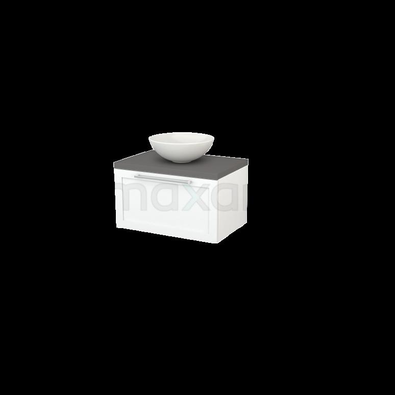 Badkamermeubel voor Waskom 70cm Mat Wit Kader Modulo+ Plato Basalt Blad