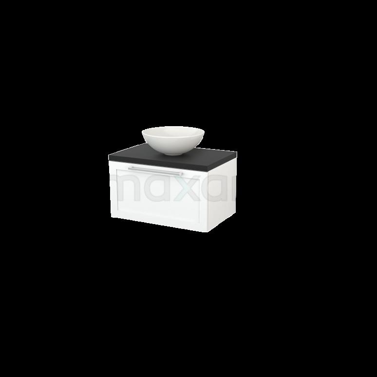 Badkamermeubel voor Waskom 70cm Mat Wit Kader Modulo+ Plato Carbon Blad