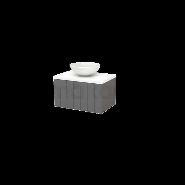 Badkamermeubel voor Waskom 70cm Basalt Lamel Modulo+ Plato Hoogglans Wit Blad