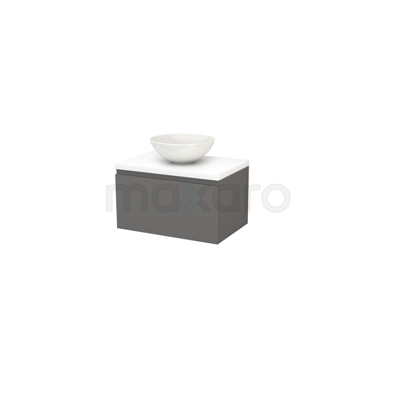 Maxaro Modulo+ Plato BMK001148 Badkamermeubel voor Waskom 70cm Basalt Greeploos Modulo+ Plato Hoogglans Wit Blad