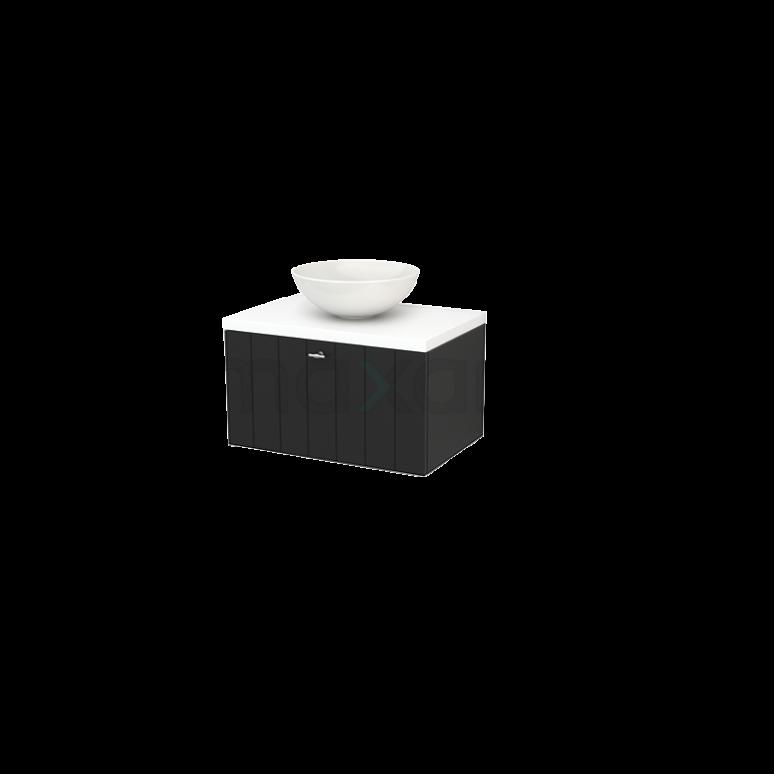 Badkamermeubel voor Waskom 70cm Carbon Lamel Modulo+ Plato Mat Wit Blad