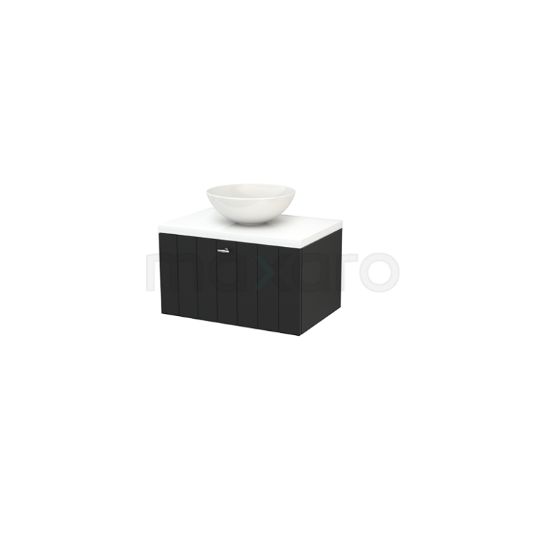 Maxaro Modulo+ Plato BMK001154 Badkamermeubel voor Waskom 70cm Carbon Lamel Modulo+ Plato Hoogglans Wit Blad