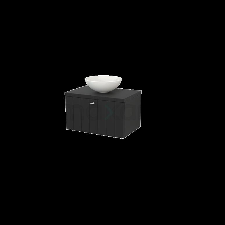 Badkamermeubel voor Waskom 70cm Modulo+ Plato Carbon 1 Lade Lamel