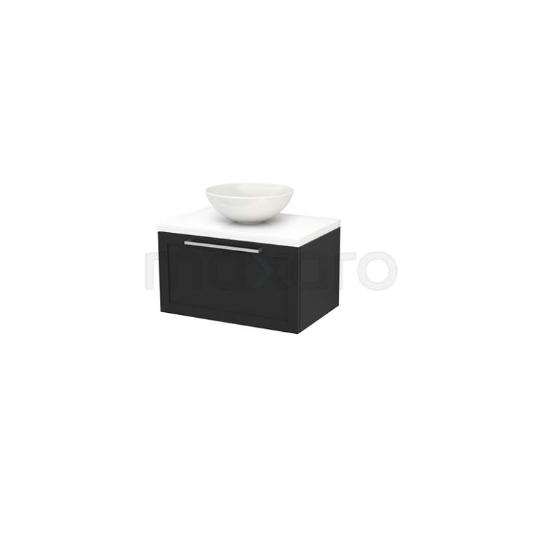 Badkamermeubel voor Waskom 70cm Carbon Kader Modulo+ Plato Hoogglans Wit Blad