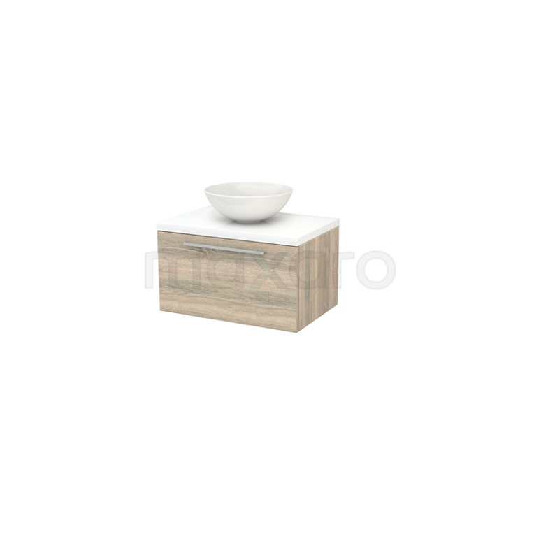 Badkamermeubel voor Waskom 70cm Eiken Vlak Modulo+ Plato Hoogglans Wit Blad