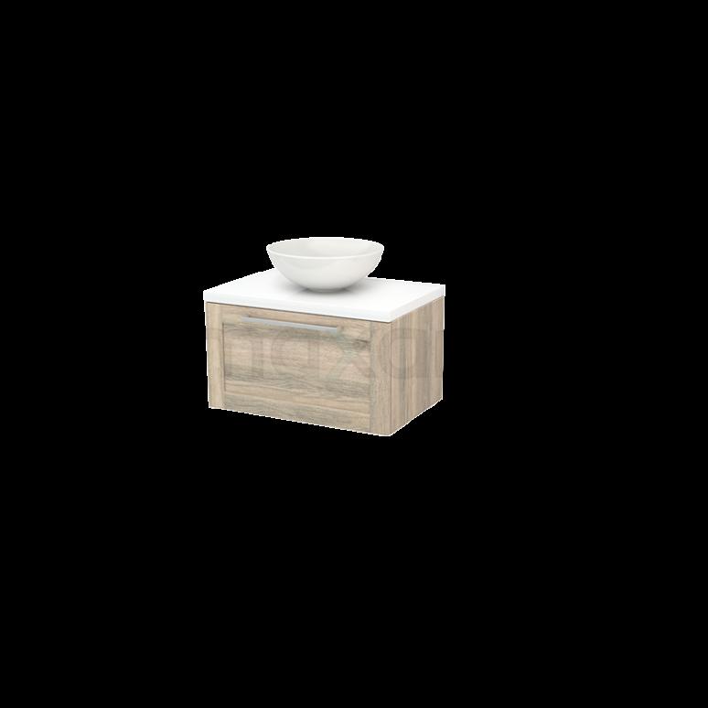 Badkamermeubel voor Waskom 70cm Eiken Kader Modulo+ Plato Hoogglans Wit Blad