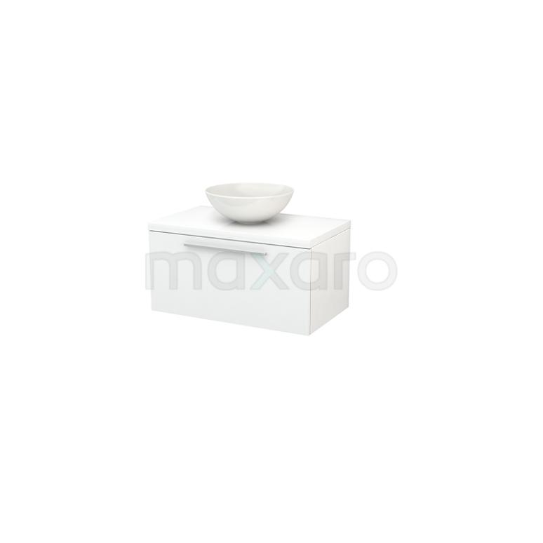 Maxaro Modulo+ Plato BMK001180 Badkamermeubel voor Waskom 80cm Modulo+ Plato Hoogglans Wit 1 Lade Vlak