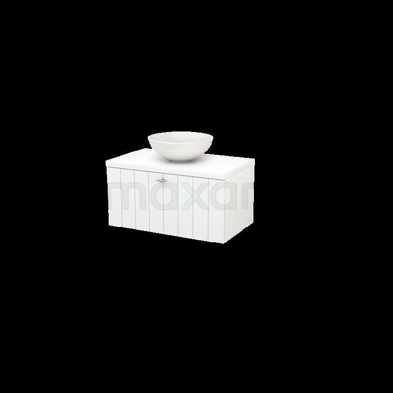 Badkamermeubel voor Waskom 80cm Modulo+ Plato Hoogglans Wit 1 Lade Lamel