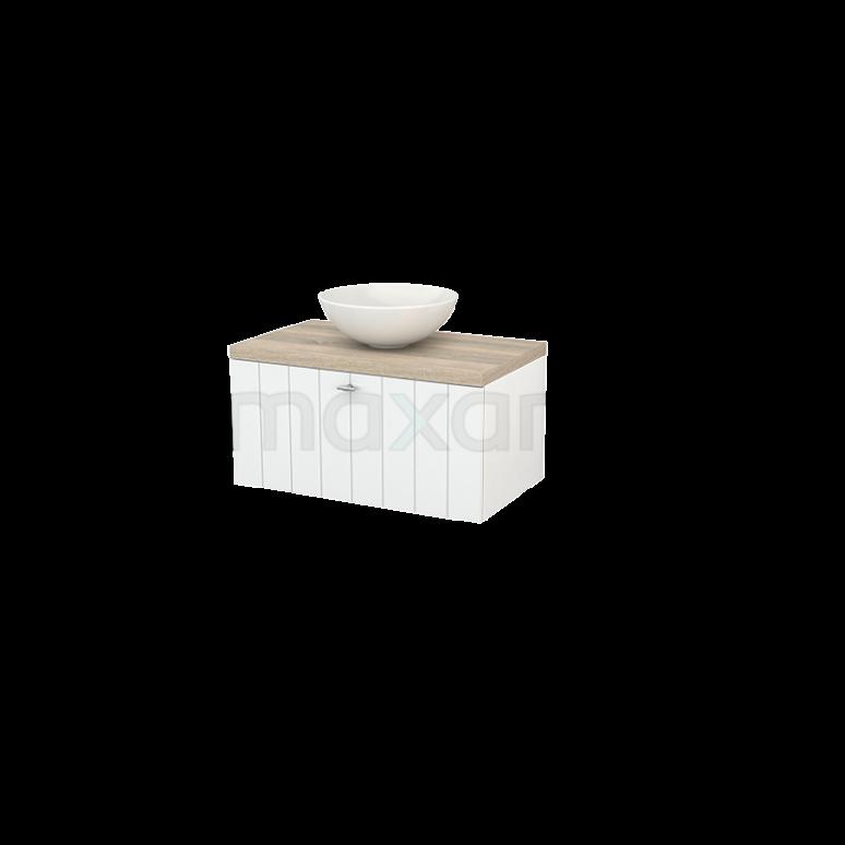 Badkamermeubel voor Waskom 80cm Hoogglans Wit Lamel Modulo+ Plato Eiken Blad