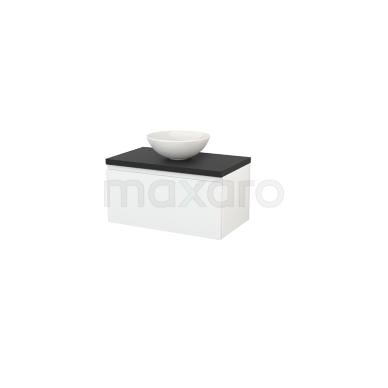 Badkamermeubel voor Waskom 80cm Hoogglans Wit Greeploos Modulo+ Plato Carbon Blad