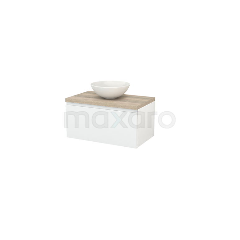 Maxaro Modulo+ Plato BMK001201 Badkamermeubel voor Waskom 80cm Hoogglans Wit Greeploos Modulo+ Plato Eiken Blad