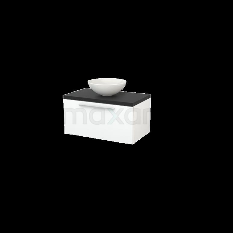 Badkamermeubel voor Waskom 80cm Mat Wit Vlak Modulo+ Plato Carbon Blad