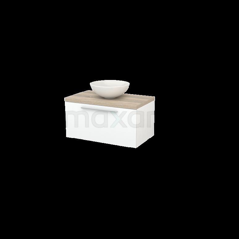 Badkamermeubel voor Waskom 80cm Mat Wit Vlak Modulo+ Plato Eiken Blad