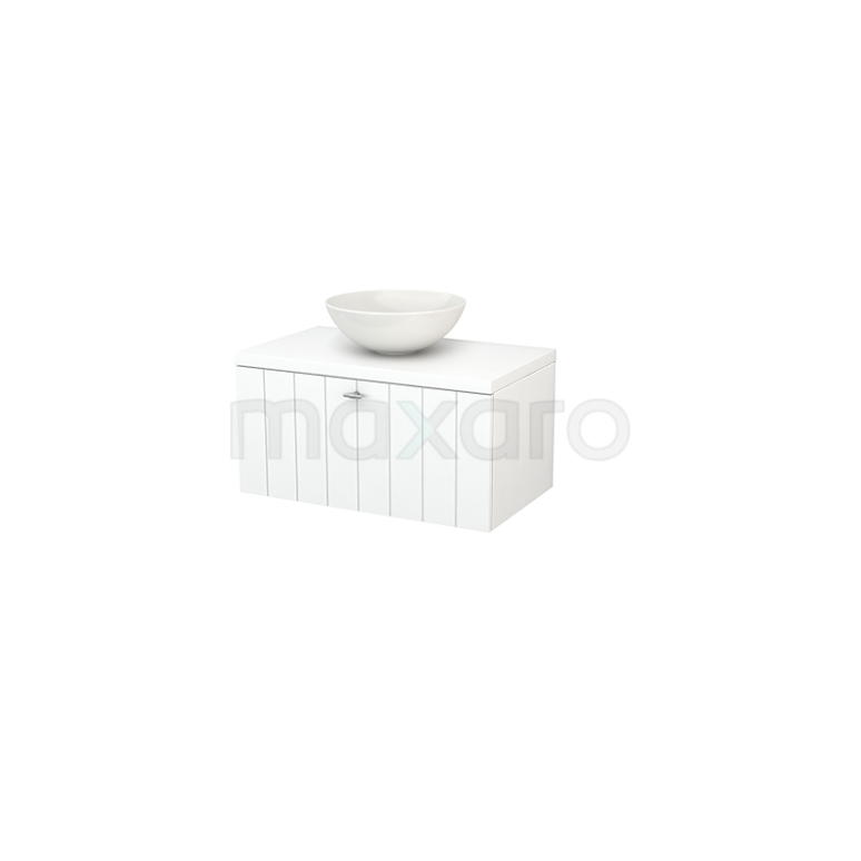Badkamermeubel voor Waskom 80cm Modulo+ Plato Mat Wit 1 Lade Lamel