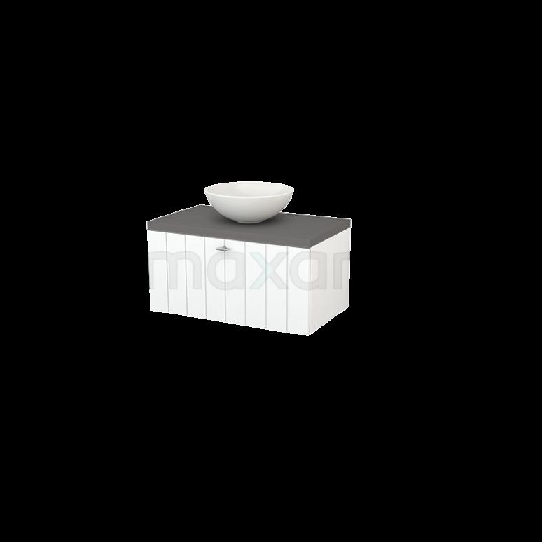 Badkamermeubel voor Waskom 80cm Mat Wit Lamel Modulo+ Plato Basalt Blad