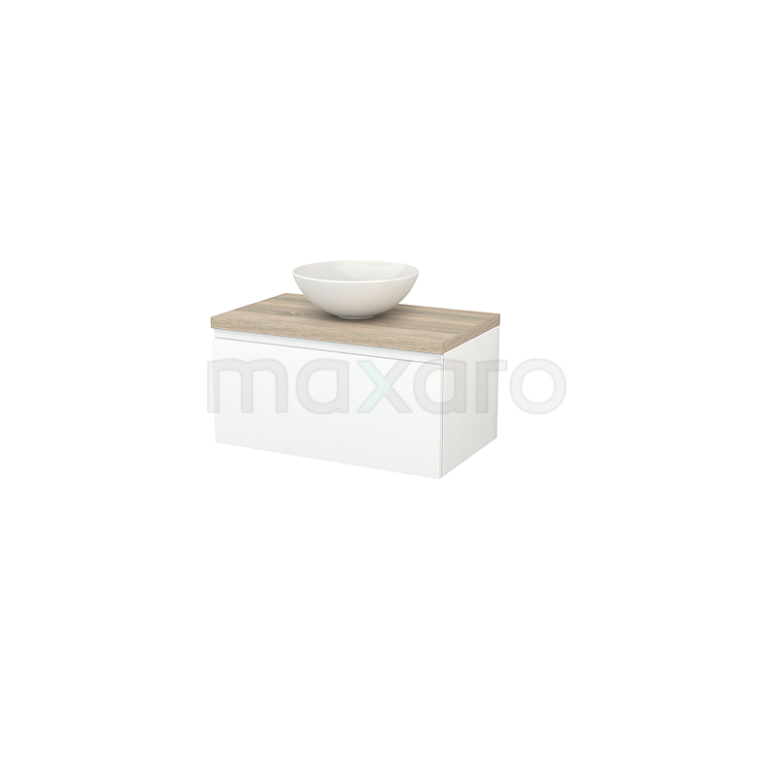 Badkamermeubel voor Waskom 80cm Mat Wit Greeploos Modulo+ Plato Eiken Blad
