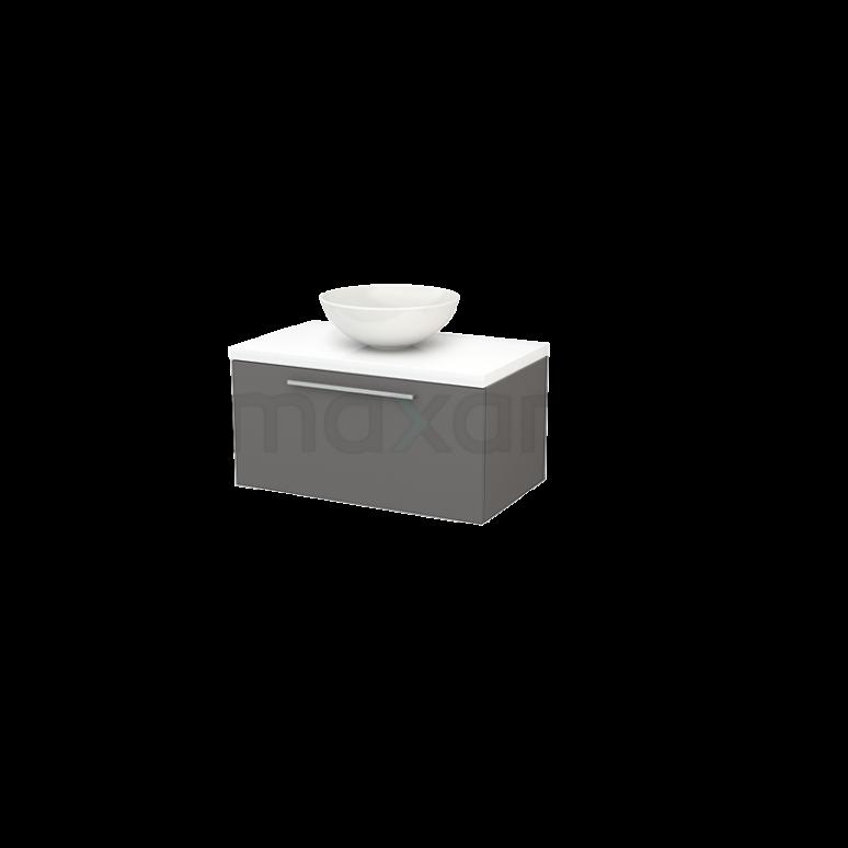 Maxaro Modulo+ Plato BMK001229 Badkamermeubel voor Waskom 80cm Basalt Vlak Modulo+ Plato Hoogglans Wit Blad
