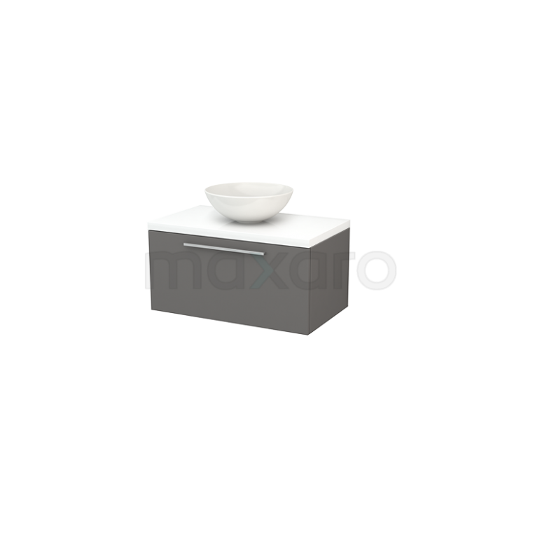 Badkamermeubel voor Waskom 80cm Basalt Vlak Modulo+ Plato Hoogglans Wit Blad