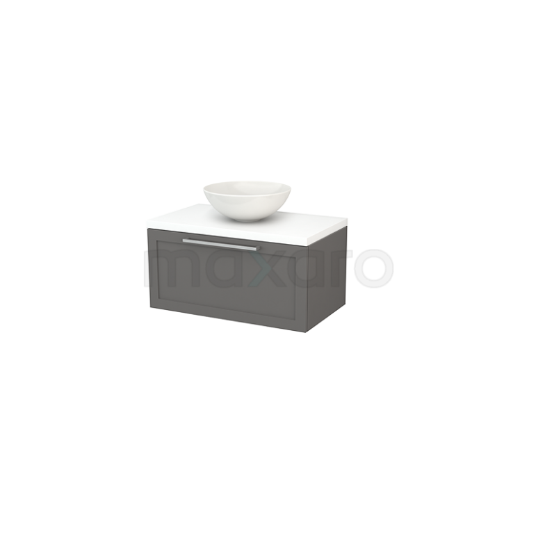 Badkamermeubel voor Waskom 80cm Basalt Kader Modulo+ Plato Mat Wit Blad