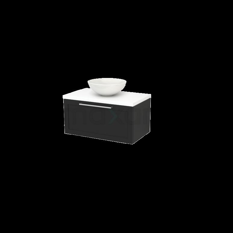 Badkamermeubel voor Waskom 80cm Carbon Kader Modulo+ Plato Mat Wit Blad