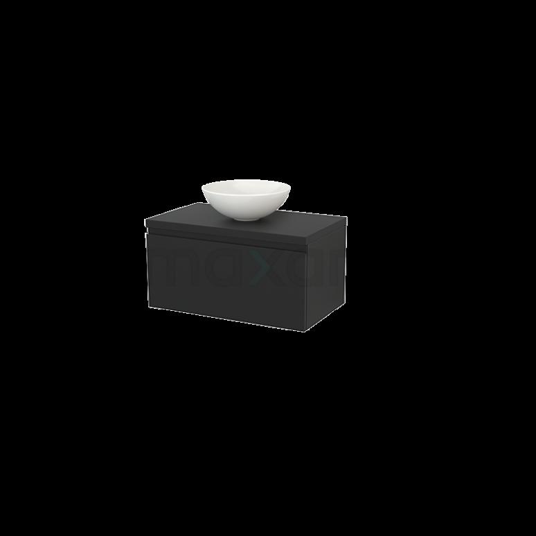 Badkamermeubel voor Waskom 80cm Modulo+ Plato Carbon 1 Lade Greeploos