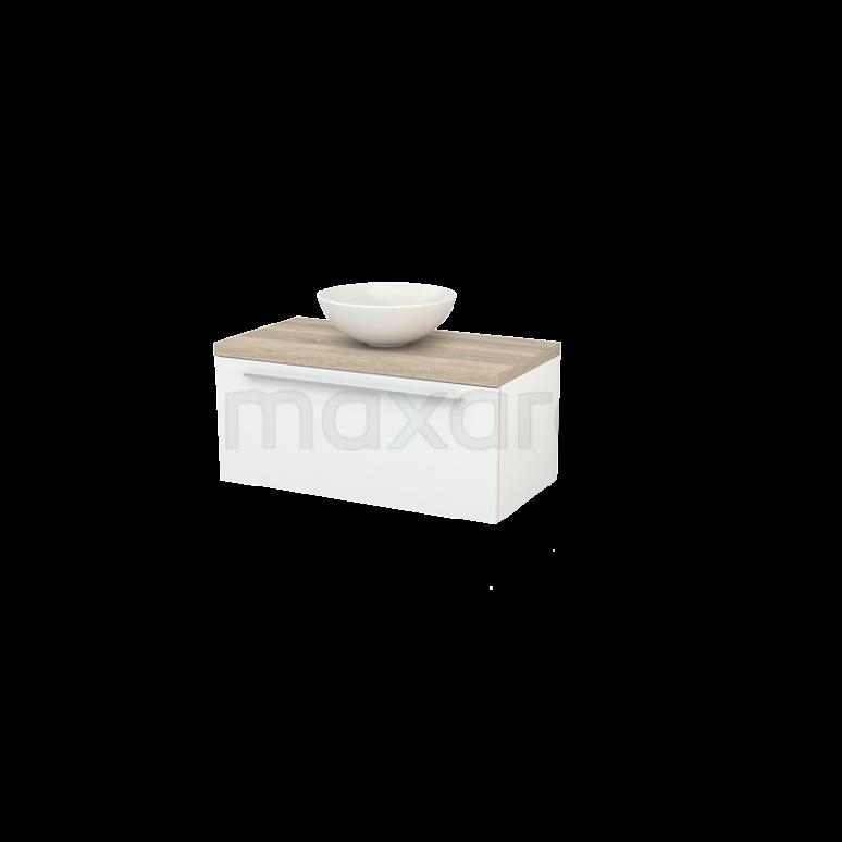 Badkamermeubel voor Waskom 90cm Hoogglans Wit Vlak Modulo+ Plato Eiken Blad