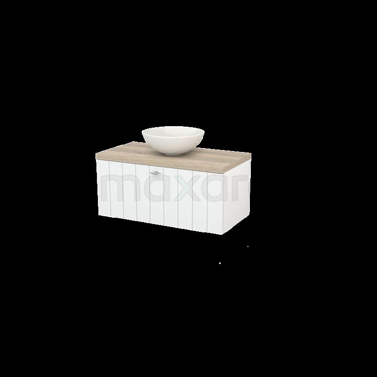 Badkamermeubel voor Waskom 90cm Hoogglans Wit Lamel Modulo+ Plato Eiken Blad