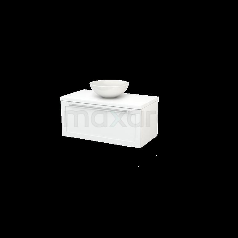 Maxaro Modulo+ Plato BMK001282 Badkamermeubel voor Waskom 90cm Modulo+ Plato Hoogglans Wit 1 Lade Kader