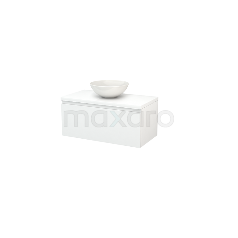 Badkamermeubel voor Waskom 90cm Modulo+ Plato Hoogglans Wit 1 Lade Greeploos