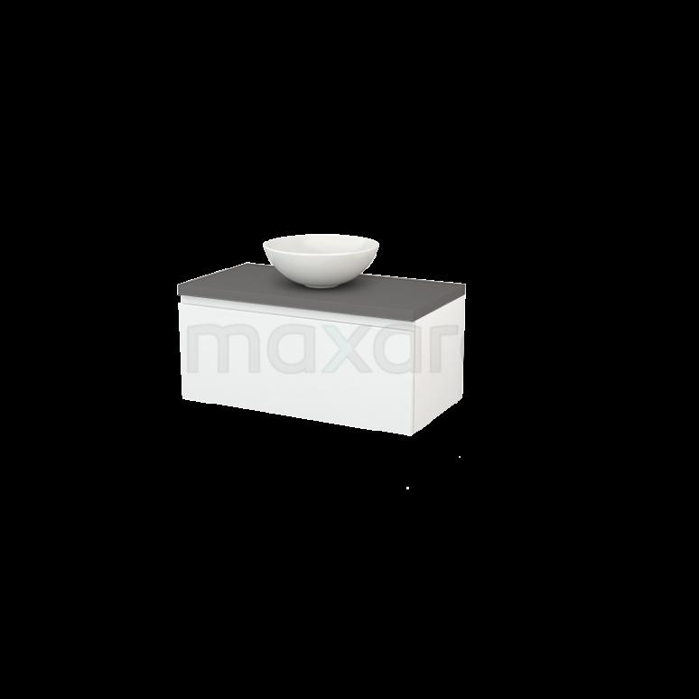 Badkamermeubel voor Waskom 90cm Hoogglans Wit Greeploos Modulo+ Plato Basalt Blad