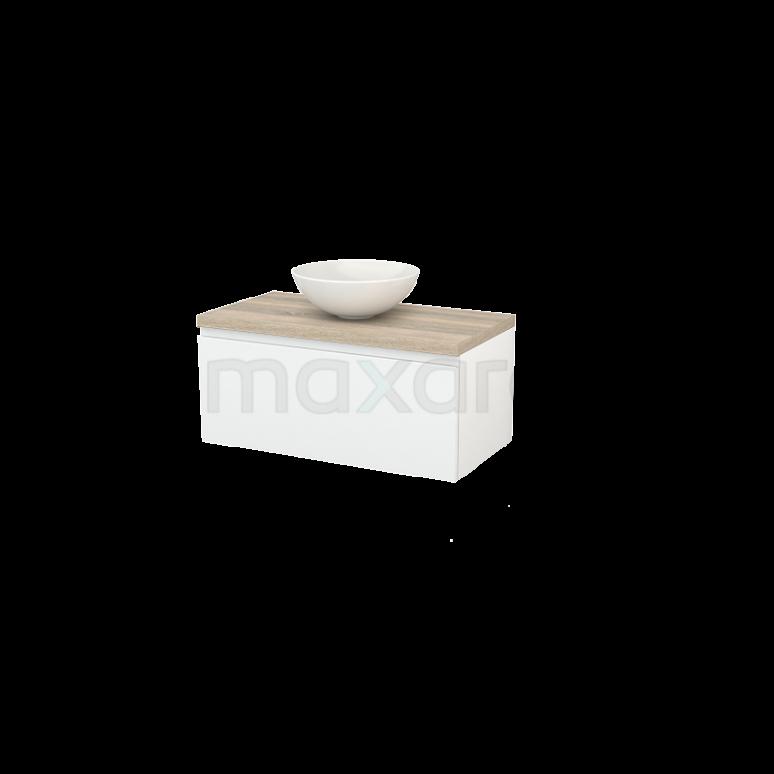 Badkamermeubel voor Waskom 90cm Hoogglans Wit Greeploos Modulo+ Plato Eiken Blad