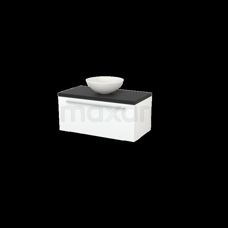 Badkamermeubel voor Waskom 90cm Mat Wit Vlak Modulo+ Plato Carbon Blad