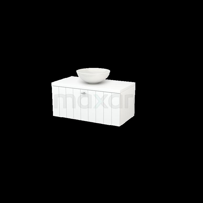 Badkamermeubel voor Waskom 90cm Modulo+ Plato Mat Wit 1 Lade Lamel