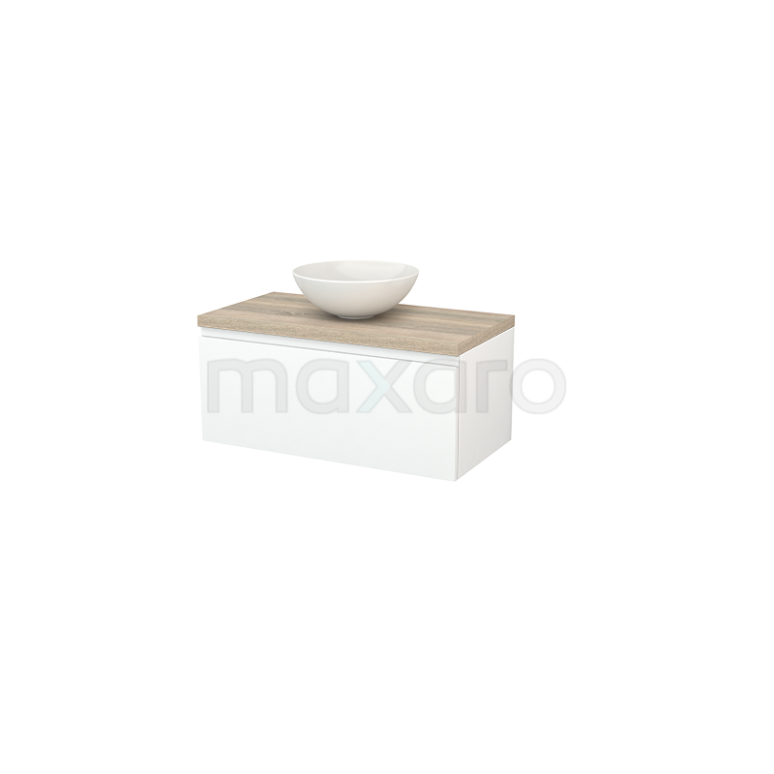 Badkamermeubel voor Waskom 90cm Mat Wit Greeploos Modulo+ Plato Eiken Blad