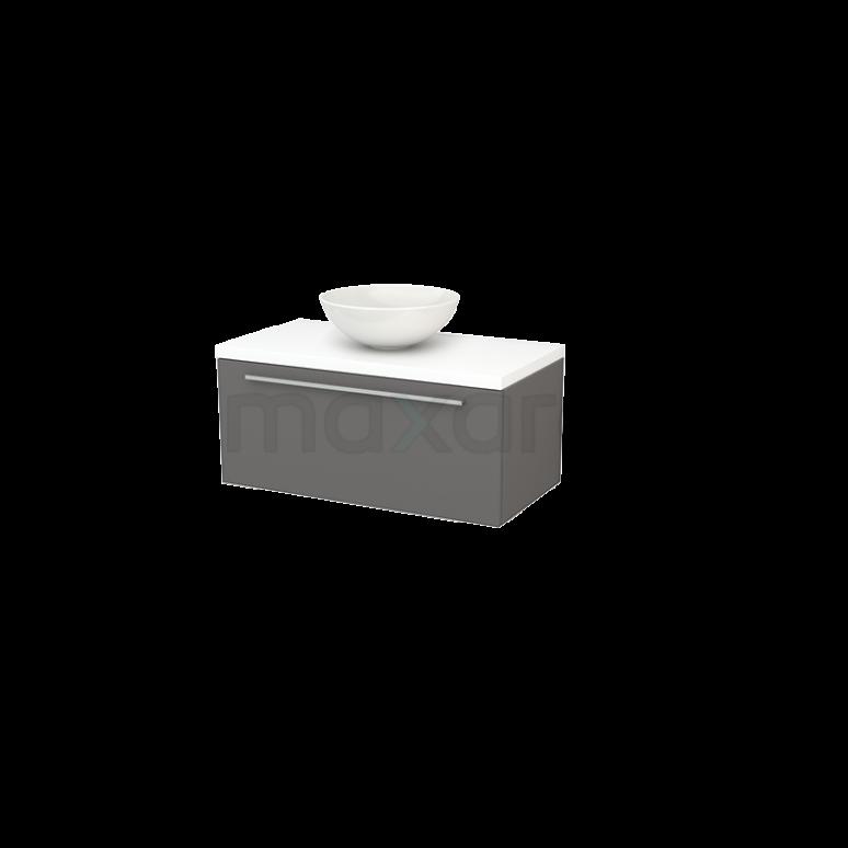 Badkamermeubel voor Waskom 90cm Basalt Vlak Modulo+ Plato Mat Wit Blad