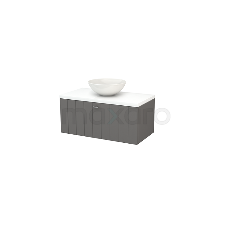 Badkamermeubel voor Waskom 90cm Basalt Lamel Modulo+ Plato Hoogglans Wit Blad