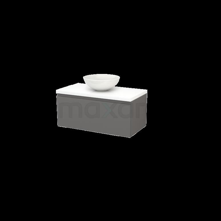 Maxaro Modulo+ Plato BMK001328 Badkamermeubel voor Waskom 90cm Basalt Greeploos Modulo+ Plato Hoogglans Wit Blad
