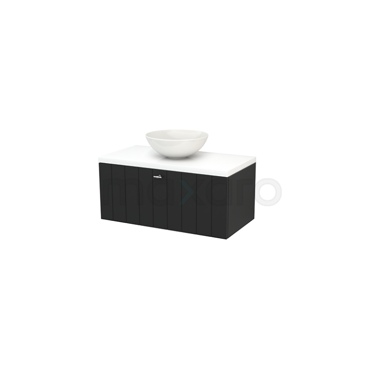 Maxaro Modulo+ Plato BMK001334 Badkamermeubel voor Waskom 90cm Carbon Lamel Modulo+ Plato Hoogglans Wit Blad
