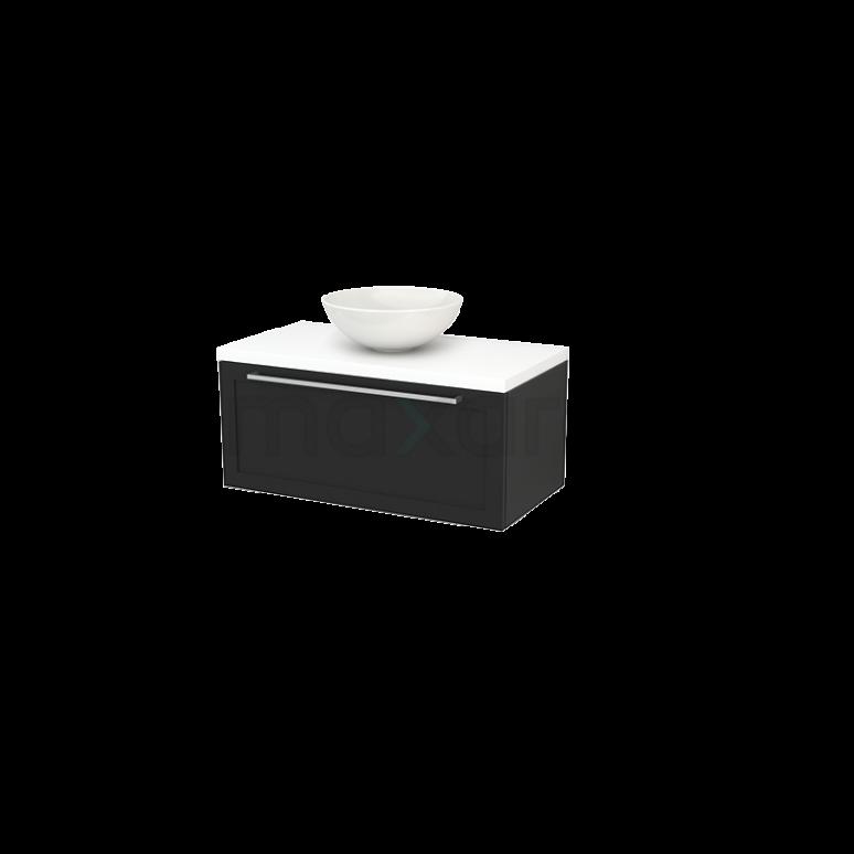 Maxaro Modulo+ Plato BMK001336 Badkamermeubel voor Waskom 90cm Carbon Kader Modulo+ Plato Mat Wit Blad