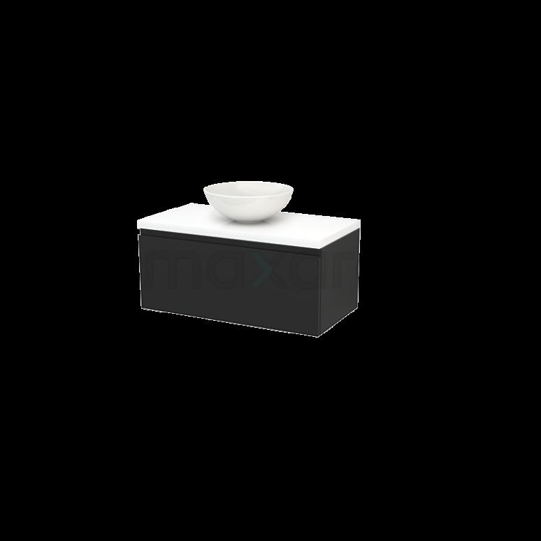 Badkamermeubel voor Waskom 90cm Carbon Greeploos Modulo+ Plato Hoogglans Wit Blad