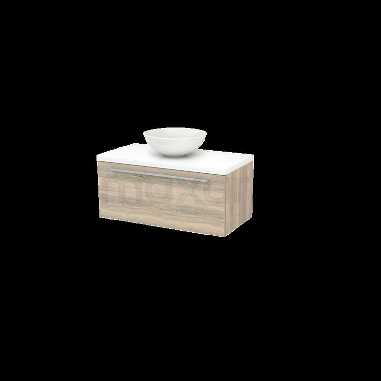 Badkamermeubel voor Waskom 90cm Eiken Vlak Modulo+ Plato Hoogglans Wit Blad