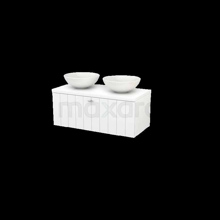 Badkamermeubel voor Waskom 100cm Modulo+ Plato Hoogglans Wit 1 Lade Lamel